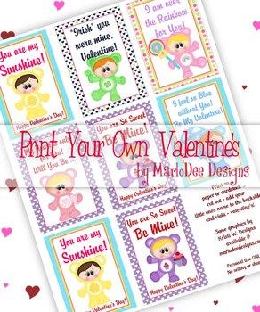 Care a Lot Kids Printable Childrens Valentine Cards d1