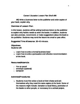 Career Education Lesson Plan Shell #89