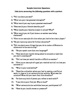 Career Education: Sample Interview Questions