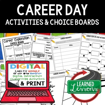Career Exploration Choice Board with 9 Activities (Paper a