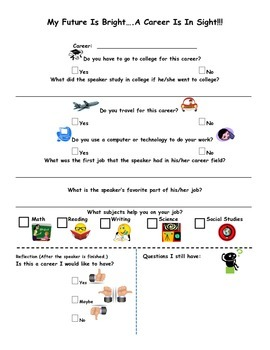 Career Speaker Graphic Organizer - 4th, 5th, 6th