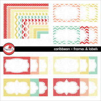 Caribbean Frames and Labels Digital Borders Clipart by Pop