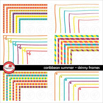 Caribbean Summer Skinny Frames Mega Pack Digital Borders C