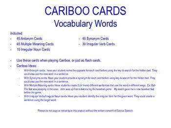 Cariboo Cards for Vocabulary