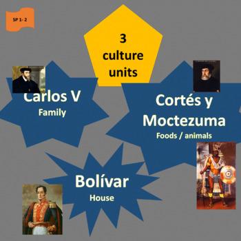 Carlos V, Cortés y Moctezuma, Bolívar; 3 inter. units - SP