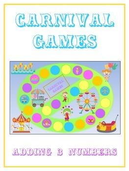 Carnival Games Math Folder Game - Common Core - Adding Thr
