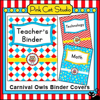 Editable Teacher Binder Covers - Carnival Owls Theme