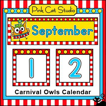 Classroom Calendar Set - Carnival Owl Theme