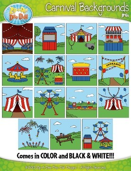 Carnival Themed Background Scenes Clip Art Set — Includes