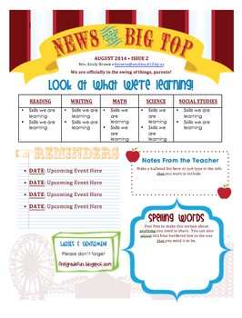 Carnival Themed Newsletter Template FREEBIE!