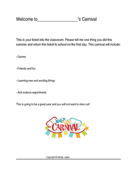 Carnival first day writing activity