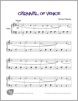 Carnival of Venice | Sheet Music for Piano Solo (Digital Print)