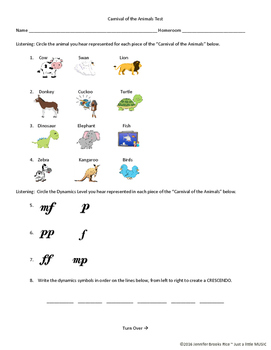 Carnival of the Animals Test (with ADAPTED version for SpE
