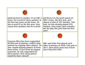 Carolina-Duke Basketball Task Cards