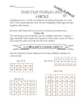 Carolines Cookie Cafe- 4.NBT.B.5 Practice- Multi Digit Mul