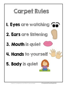 Carpet Rules for 1st Grade, Kindergarten, TK, Pre-K, and P