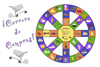 Carrera de Compras - Spanish Food Vocabulary Game (plus Sm