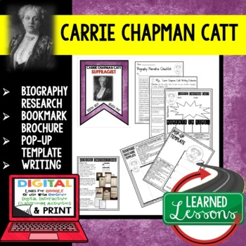 Carrie Chapman Catt Biography Research, Bookmark Brochure,