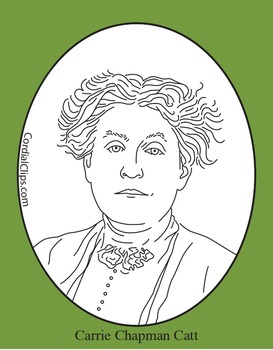 Carrie Chapman Catt Clip Art, Coloring Page or Mini Poster