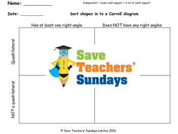 Carroll Diagram lesson plans, worksheets and other teachin