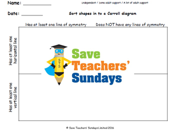 Carroll diagram lines of symmetry and lines worksheets  (3