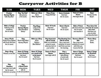Carryover Calendar for B
