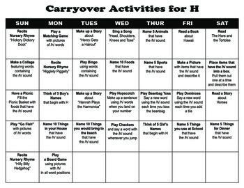 Carryover Calendar for Letter H