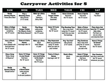 Carryover Calendar for Letter S