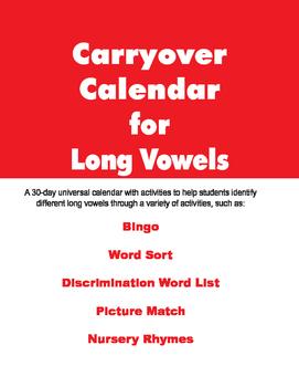 Carryover Calendar for Long Vowels