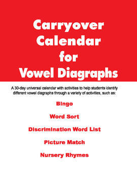 Carryover Calendar for Vowel Diagraphs