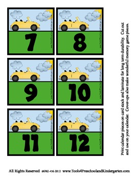 Cars Calendar Pieces Memory game sets - Discuss Day and Ni