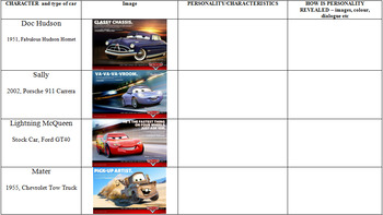 Cars Movie - Animated Film Booklet