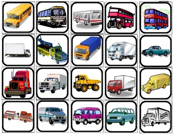 """""""Cars,Boats,Planes & Trucks"""" Picture Matching/Flashcards/M"""