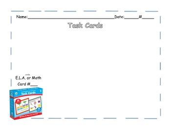 Carson Dellosa Task Card Recording Sheet