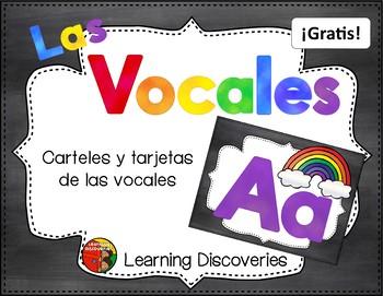 Cartas Azules de las Vocales GRATIS! - Blue Spanish Vowel