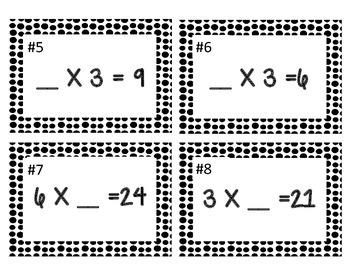 Carte à tâche   Terme manquant dans la multiplication