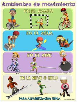 Cartel de la educación física: Alfabetizacion Fisica- Ambi