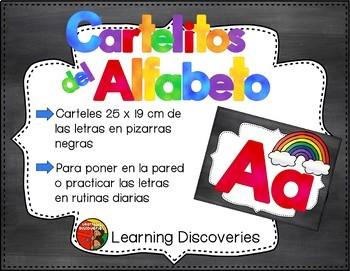 Carteles del Alfabeto Pizarras Negras Spanish Alphabet Pos