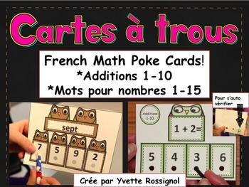 Cartes à trous (French Math Poke Cards) Additions 1-10, Mo