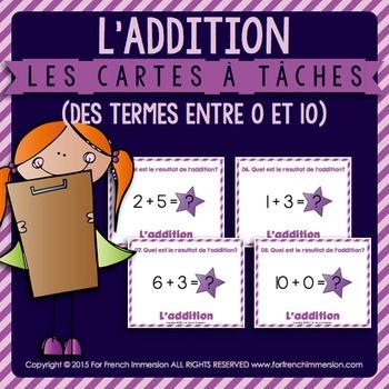 Cartes à tâches - ADDITION - termes entre 0 et 10 - FRENCH