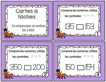 Cartes à tâches - Comparaison de nombres100 à 1000