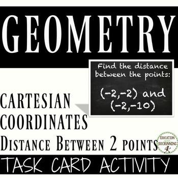 Cartesian Coordinates Distance between 2 points Task Card