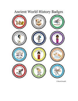 Cartoon Badges for Ancient World History - Gamify your classroom.