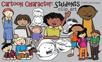 Cartoon Character Students Clip Art