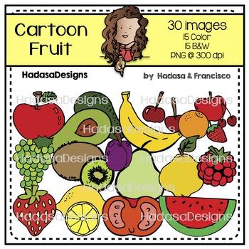 Cartoon Fruit Clip Art Set