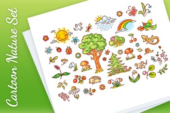 Cartoon Nature Set with Trees, Flowers, Berries and Small