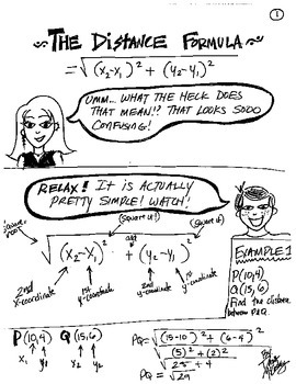 Cartoon Notes for Distance Formula relating to Pythagorean