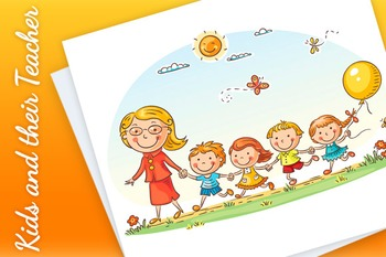 Cartoon kids and their teacher on a walk in the kindergarten