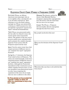 Supreme Court Case Study: Plessy v. Ferguson