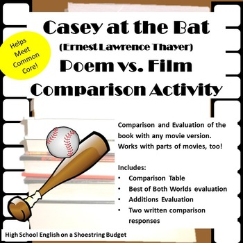 Casey at the Bat Poem vs Film [Movie vs. Book Activity] (E